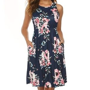 Sleeveless Floral Print Racerback Midi Dresses
